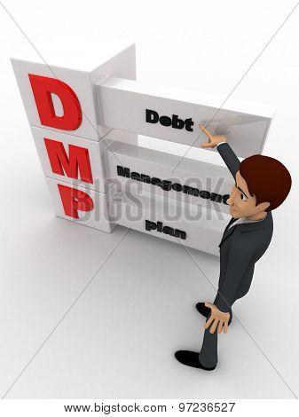 3D Ma Nwith Debt Management Plan Concept