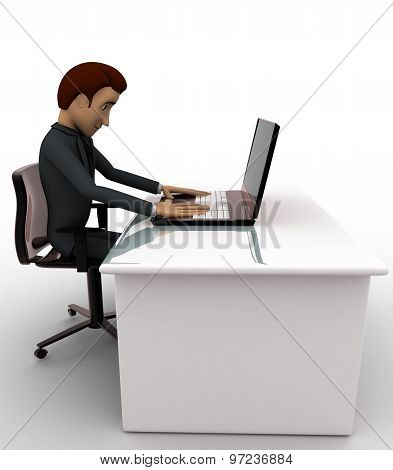 3D Man Working On Laptop In Office Concept