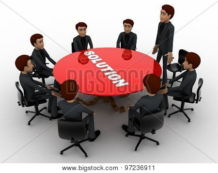3D Men Doing Meeting To Find Solution Of Problem Concept