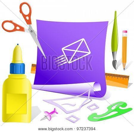send mail. Paper template. Vector illustration.