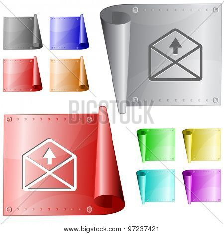 mail up arrow. Vector metal surface.