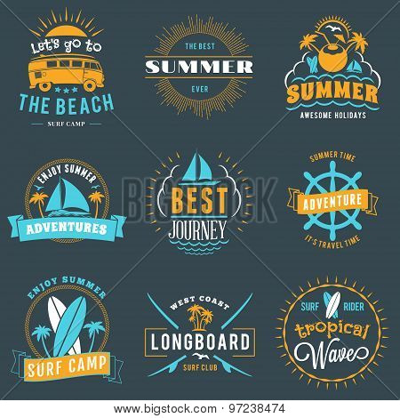 Summer Holidays Design Elements. Set Of Hipster Vintage Logotypes And Badges In Three Colors On Dark