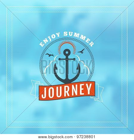 Vintage Hipster Summer Holidays Label Or Badge. Vector Design Element On Coloful Summer Background