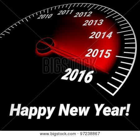 Speedometer with the date of year 2016