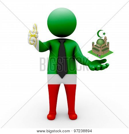 3d businessman people Chechnya- Muslim mosque and Islam in Chechnya