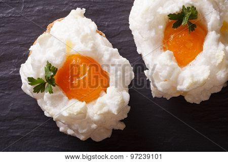 Eggs Orsini: Baked Whipped Whites And Yolks Horizontal Top View