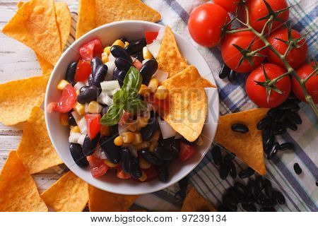 Mexican Salsa And Corn Chips Nachos. Horizontal Top View Close-up