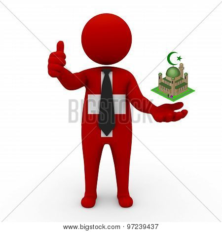 3d businessman people Switzerland - Muslim mosque and Islam in Switzerland
