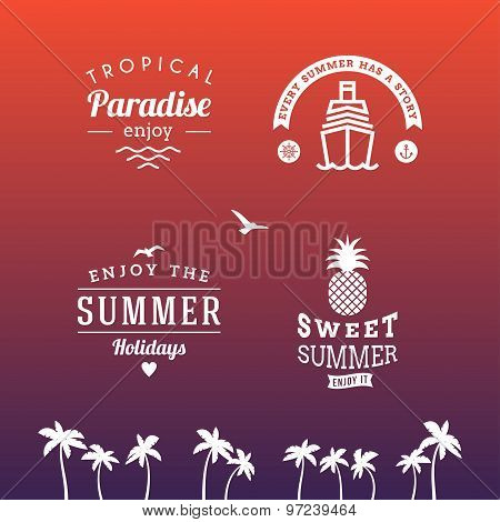 Set Of Summer Holidays Hipster Vintage Labels Or Badges. Vector Design Elements
