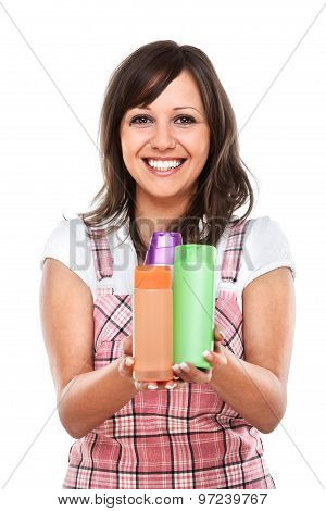 Young Woman With Cosmetics