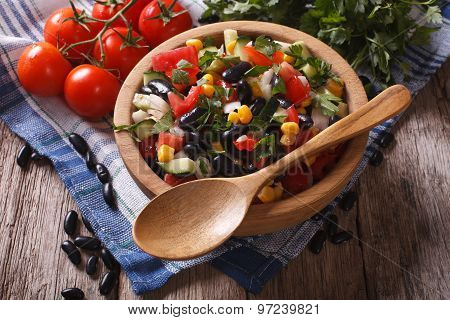 Vegetable Salad With Black Beans And Ingredients Table. Horizontal