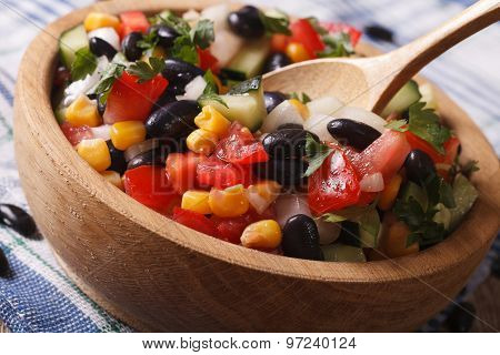 Mexican Vegetable Salad Macro In A Wooden Plate. Horizontal