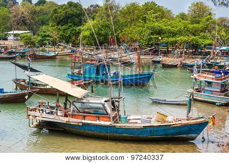 fishermans boats at fisherman village , Salakphet , koh Chang island, Thailand