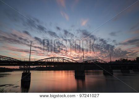 Bridge Over The Umeå, River In Sweden