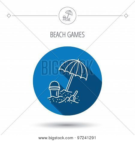 Beach umbrella in sand icon. Bucket with shovel.