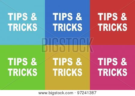 tips tricks vector flat design icons set