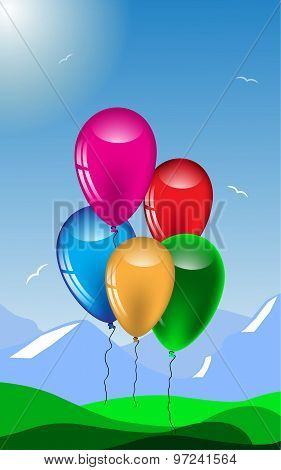 Festive, Summer A Background With Colorful Balloons.vector