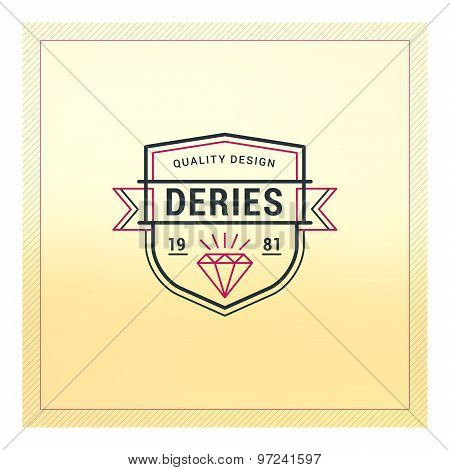 Vintage Label, Logotype, Badge For Business. Thin Line Design Template