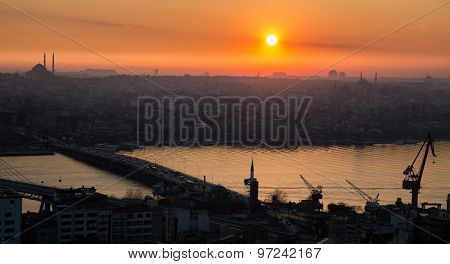 Golden horn of Istanbul at sunset, high contrast profile