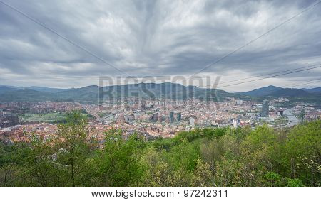 Bilbao and Pagasarri skyline from Artxanda mountain, stormy day