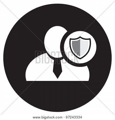 White Man Silhouette Icon With Defend Symbol In An Information Circle, Flat Design Icon In Black Cir