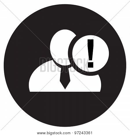 White Man Silhouette Icon With Exclamation Mark In An Information Circle, Flat Design Icon In Black