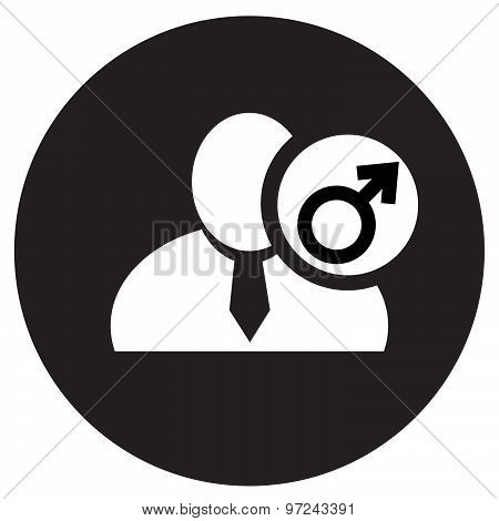 White Man Silhouette Icon With Male Gender Symbol In An Information Circle, Flat Design Icon In Blac
