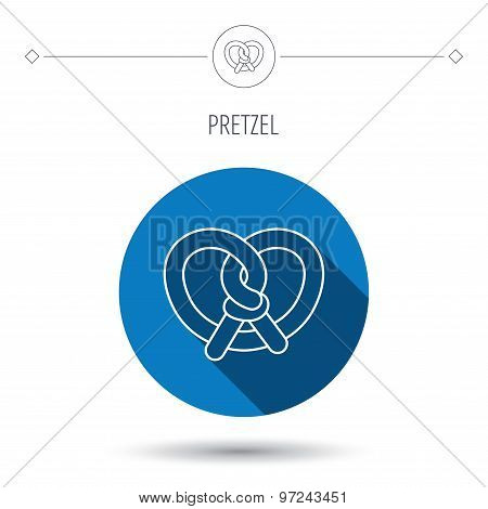 Pretzel icon. Bakery food sign.