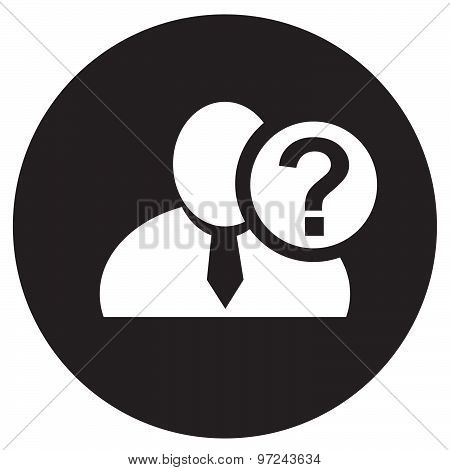 White Man Silhouette Icon With Question Mark In An Information Circle, Flat Design Icon In Black Cir
