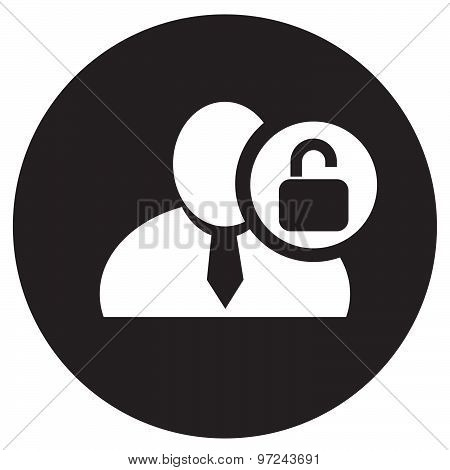 White Man Silhouette Icon With Unlock Symbol In An Information Circle, Flat Design Icon In Black Cir