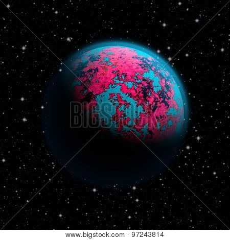 Abstract Planet Earth With Blue Atmosphere And Continents Covered With A Toxic Pink Cover. Full Hd V