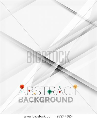 White abstract background with lines of shadows. Vector business or technology template, illustration