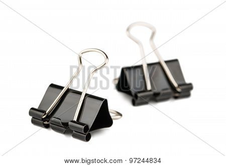 Two Metal Paper Binder Clips