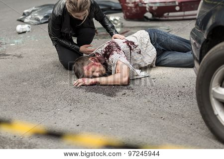 Dead Man After Car Crash