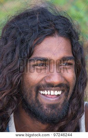 Portrait Of Young Local Man Smiling For Camera.mirissa, Sri Lanka