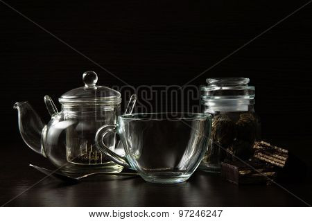 Cup For Tea And Teapot