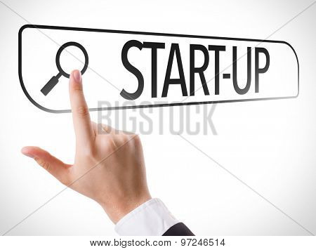 Start-Up written in search bar on virtual screen