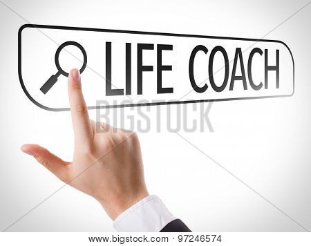 Life Coach written in search bar on virtual screen