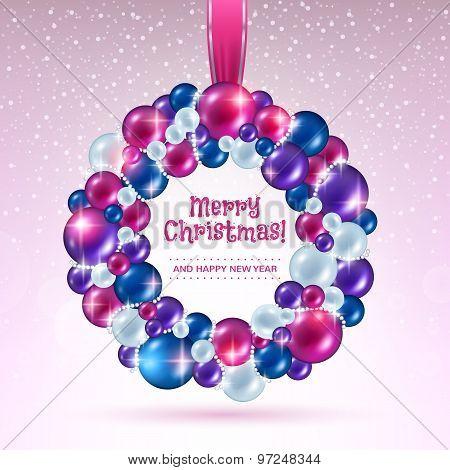 Colorful christmas balls wreath.