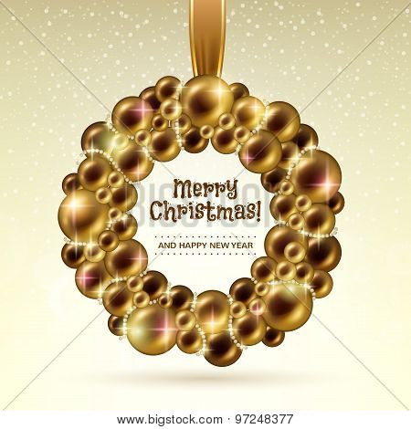 Golden glowing christmas balls wreath.