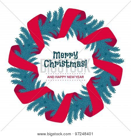 Christmas wreath with red ribbon and greetings.