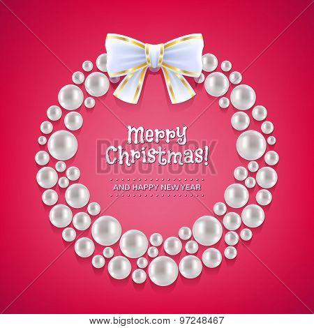 Christmas wreath made of white pearls.