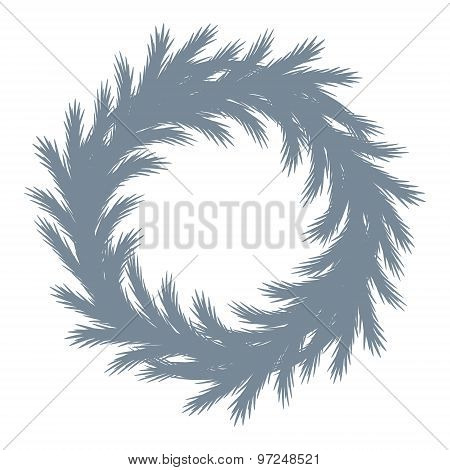 Christmas tree wreath silhouette.
