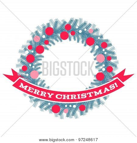 Christmas wreath with ribbon and greetings.