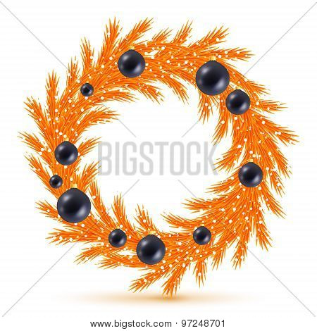 Orange christmas tree wreath with decorations.