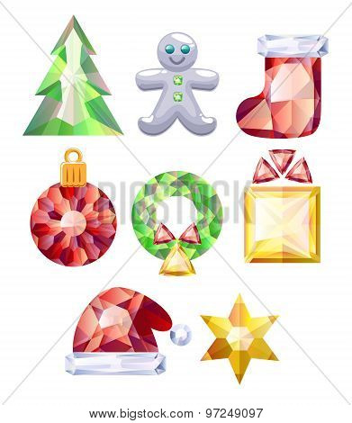 Christmas icons set. Colorful jewels.
