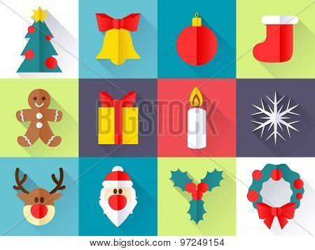 Christmas icons set. Flat style.