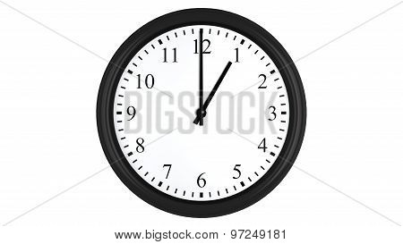 Realistic 3D clock set at 1 o'clock