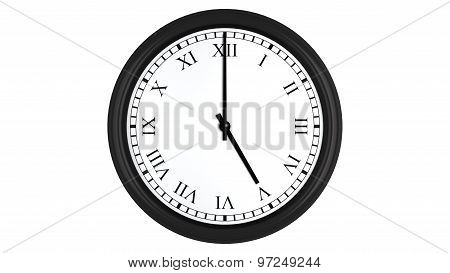 Realistic 3D clock with Roman numerals set at 5 o'clock