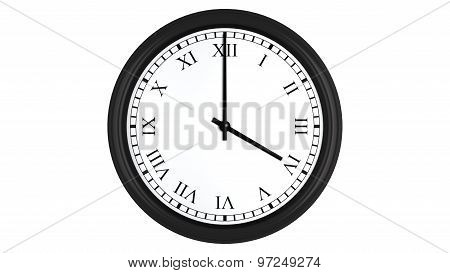 Realistic 3D clock set with Roman numerals at 4 o'clock
